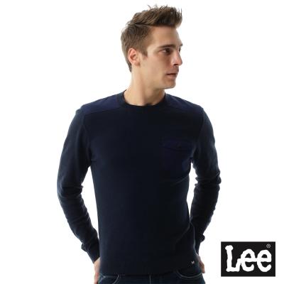 Lee 圓領小口袋長袖厚TEE/RG-男款-藍