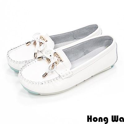 Hong Wa - 休閒蝴蝶結金屬飾釦莫卡辛鞋 - 白