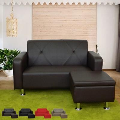 時尚屋 東京都會風4.3尺二人座L型鐵腳沙發 多色可選 寬131cm-免組