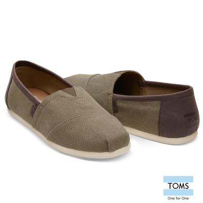 TOMS 帆布混皮革懶人鞋-男款