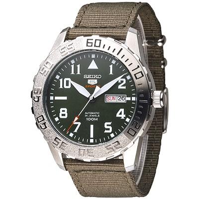 SEIKO 野地戰將百米5號24石機械男錶(SRP751K2)-軍綠/43mm