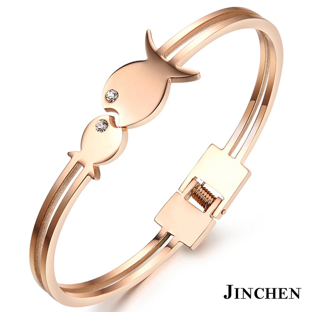 JINCHEN 白鋼小魚兒手環 玫瑰金