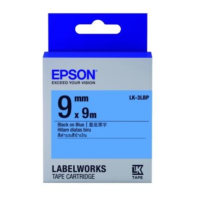 EPSON C53S653406 LK-3LBP粉彩系列藍底黑字標籤帶(寬度9mm)
