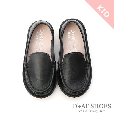 D+AF (童)可愛甜氛.MIT真皮素面莫卡辛童鞋*黑