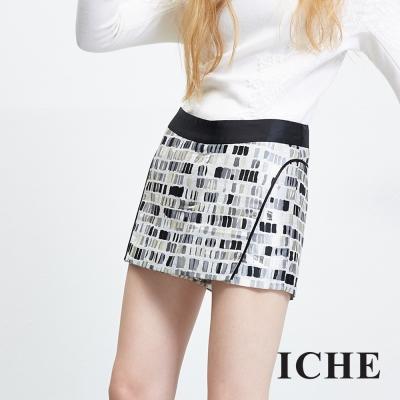 ICHE-衣哲-立體提花滾邊造型褲裙