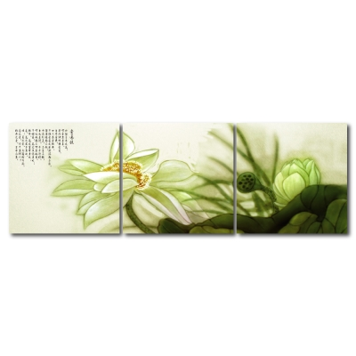 24mama掛畫 - 三聯無框圖畫藝術家飾品掛畫油畫-愛蓮說-40x40cm