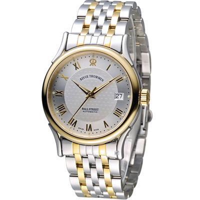 梭曼 Revue Thommen 華爾街系列時尚機械錶-銀色+金色/37mm