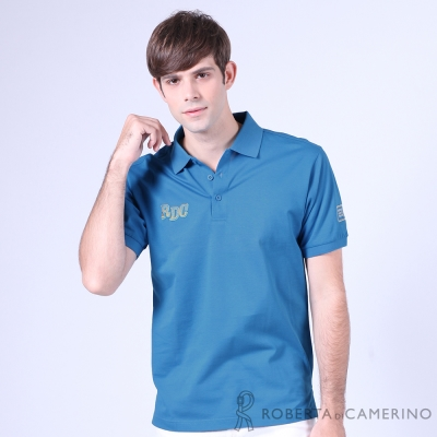 ROBERTA諾貝達 台灣製 修身版 休閒 純棉短袖POLO棉衫 藍色