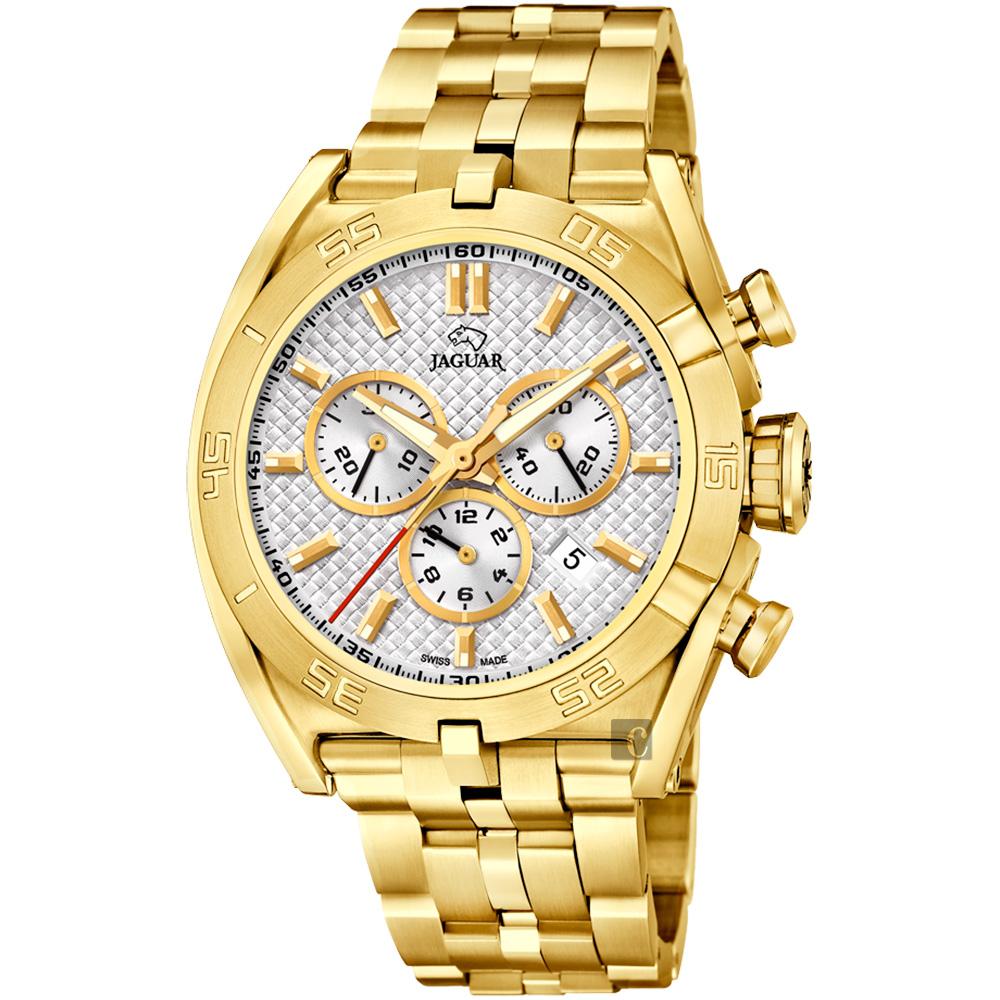 JAGUAR積架 EXECUTIVE 極速計時手錶-銀x金/45.8mm