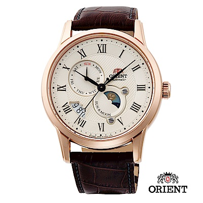 ORIENT 東方錶 SUN&MOON系列 日月相錶 皮帶款 SAK00001Y 玫瑰金
