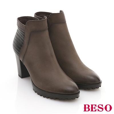BESO-復刻年代-全真皮後壓紋拉鍊高跟短靴-灰