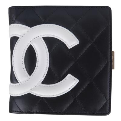 CHANEL-康朋羊皮短夾-黑-白-展示品
