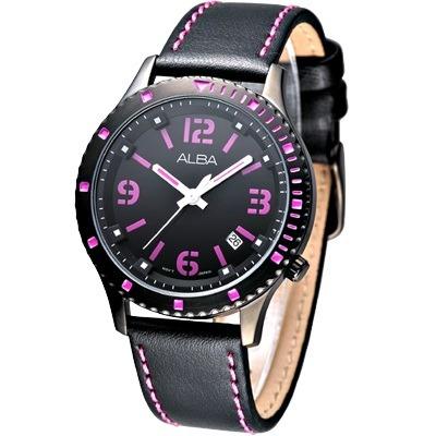 ALBA 夢幻美少女時尚腕錶(AG 8261 X 1 )-IP黑/ 38 mm