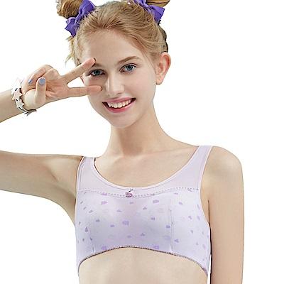 思薇爾 朵朵雲輕甜風系列B-E罩軟鋼圈印花背心型包覆內衣(縞紫色)