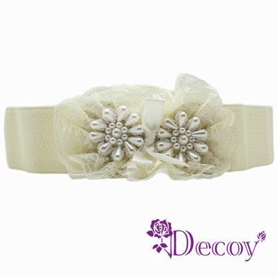 Decoy 蕾絲花圈 多層珍珠腰封 二色可選