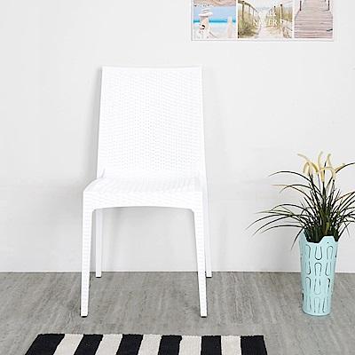 Homelike 布倫丹仿藤造型餐椅(時尚白)-45x48x89cm