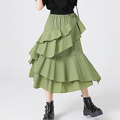 荷葉邊環繞拼接輕薄蛋糕裙-(共二色)Andstyle