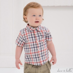 Dave Bella 橘灰藍格紋休閒短袖襯衫