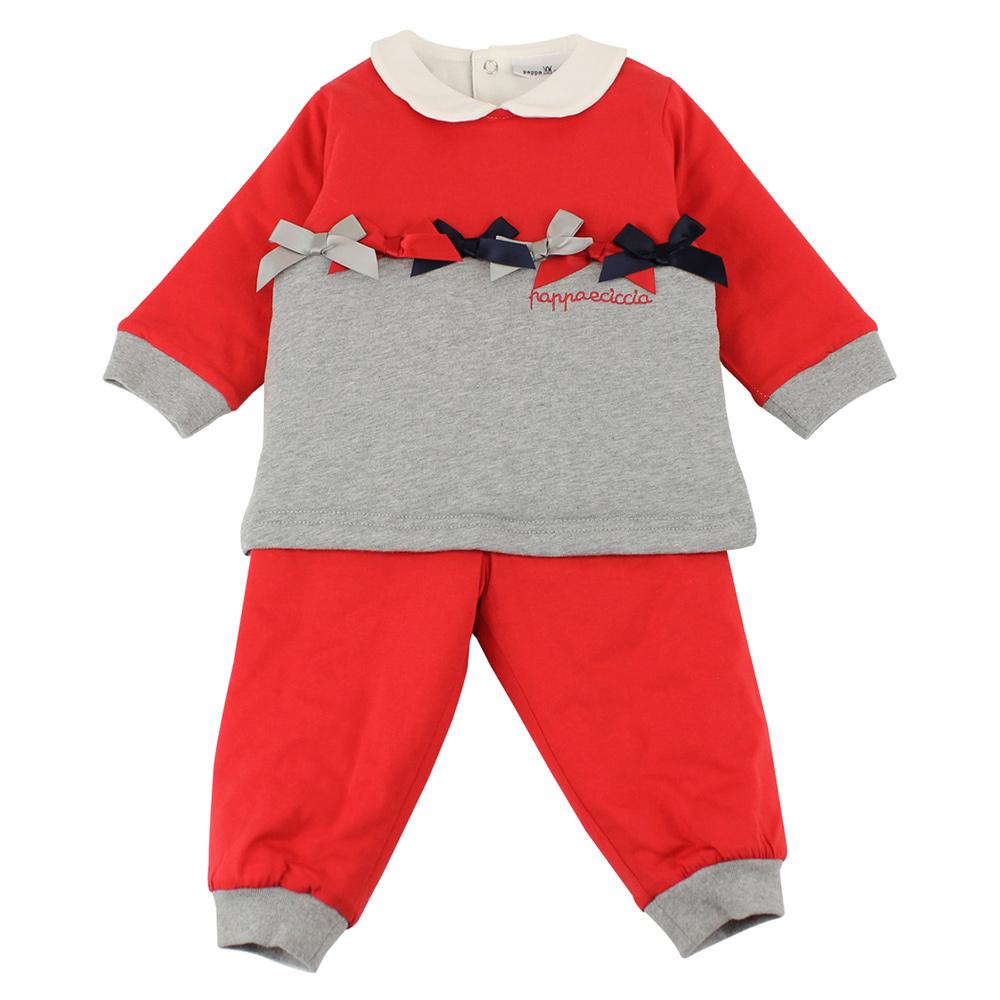 愛的世界 pappa&ciccia 純棉舖棉蝴蝶結套裝/3~4歲