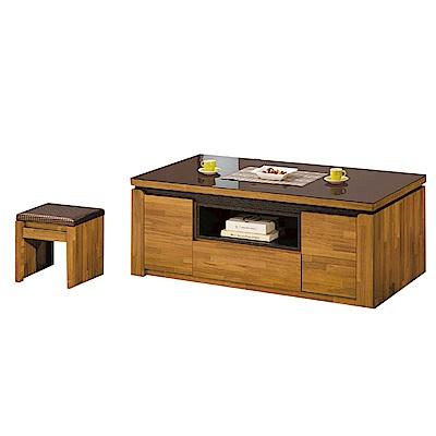品家居 特萊姆4.4尺柚木紋玻璃大茶几(含椅凳2入)-133.3x66.6x53cm免組