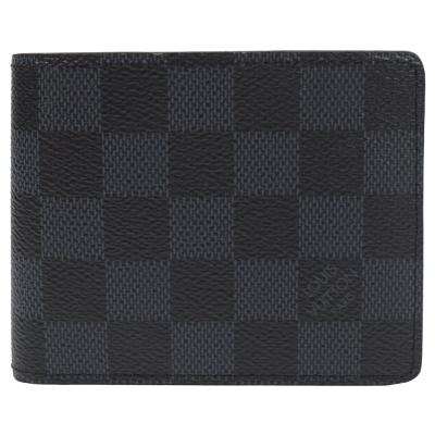 LV N62239 Slender 黑棋盤格紋雙折短夾