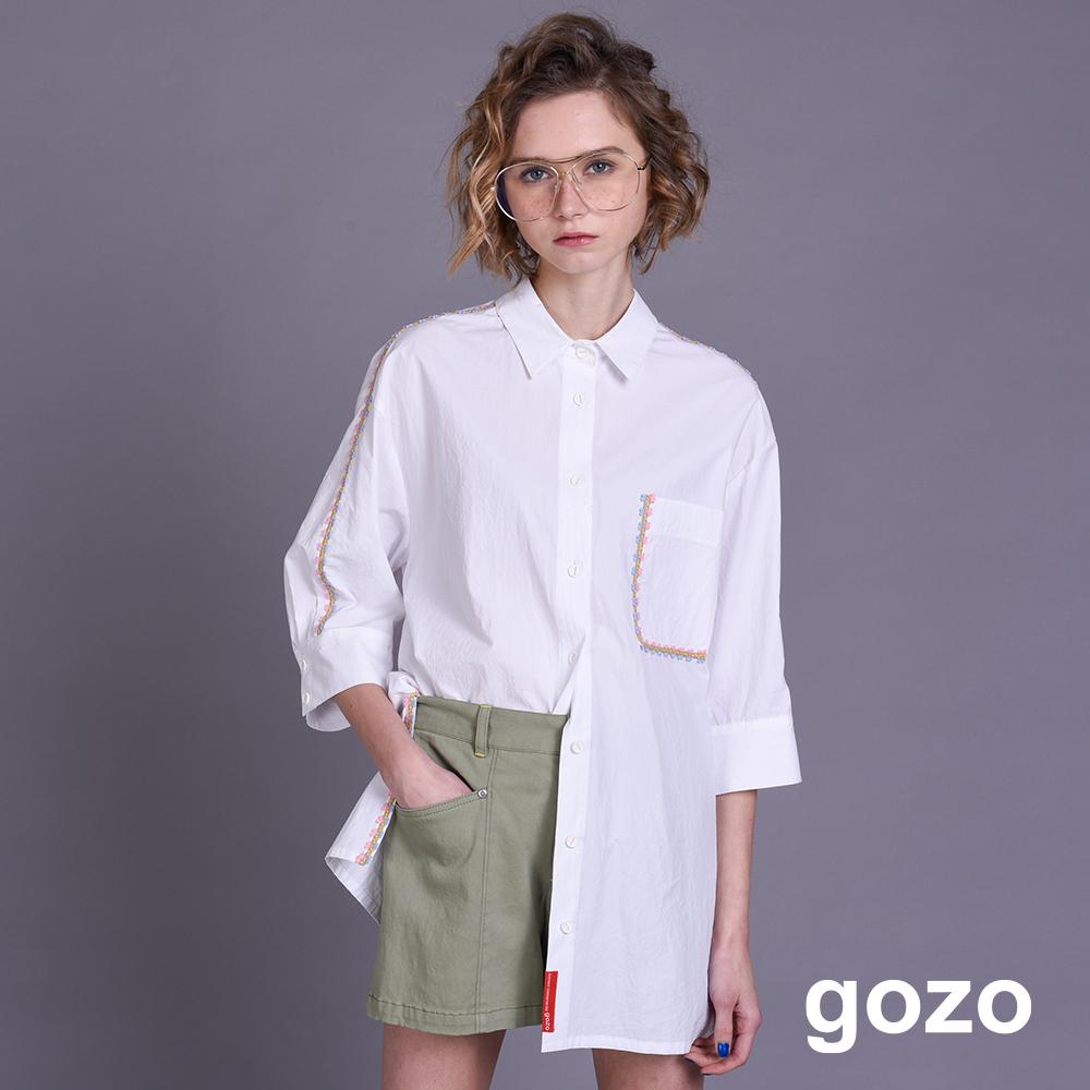 gozo 配色小花織帶五分袖長版襯衫(二色)
