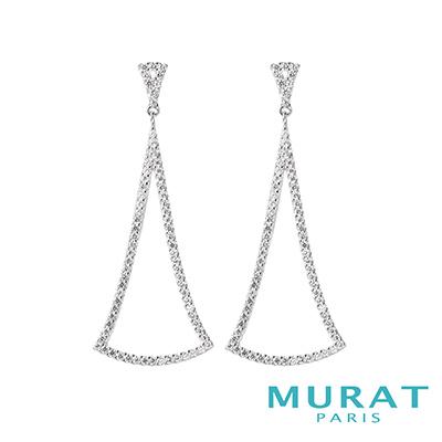 MURAT Paris米哈巴黎 優雅曲線三角垂吊耳環(大)