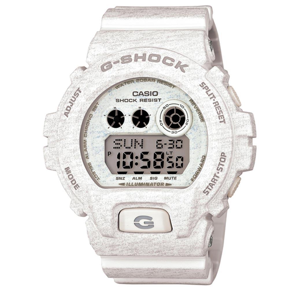 G-SHOCK 大錶徑個性潮流運動針織紋系列休閒錶(GD-X6900HT-7)-白/53.9mm