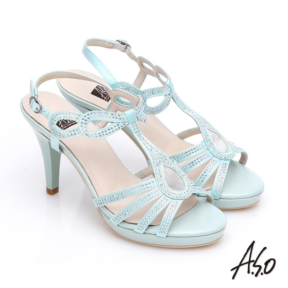 A.S.O 璀璨注目 緞布水鑽T字帶高跟涼鞋 淺綠