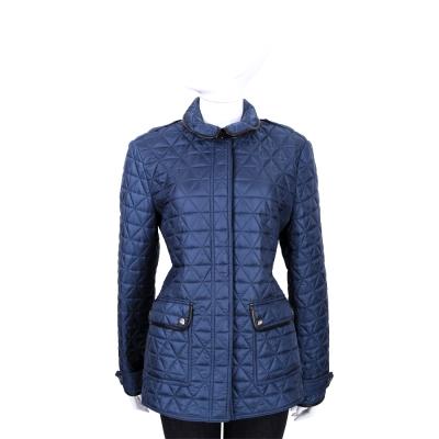 BURBERRY 藍色菱格絎縫拼接設計外套