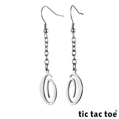 【tic tac toe】垂吊式白鋼耳環系列-螺旋橢圓