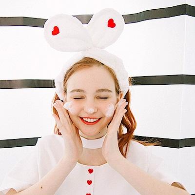 梨花HaNA 日系少女心愛心刺繡甜甜髮帶