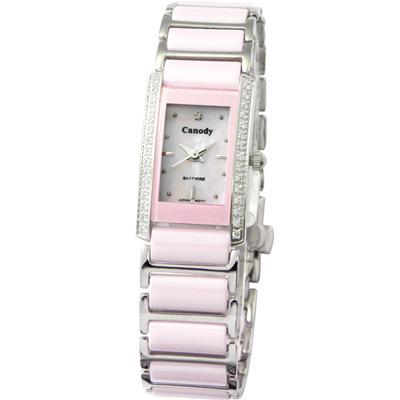 Canody 珍愛時光陶瓷鑽錶-粉紅/17x23mm