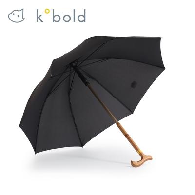 德國kobold酷波德 抗UV雙傘骨輕巧開收 人體工學手把-拐杖傘-曜石黑