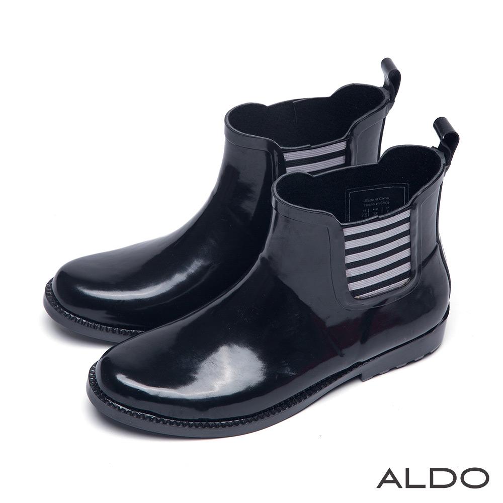 ALDO 仙履奇緣原色系漆皮幾何條紋中筒雨靴~尊爵黑色