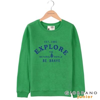 GIORDANO 童裝青春活力字母印花圓領長袖T恤 - 22 經典綠