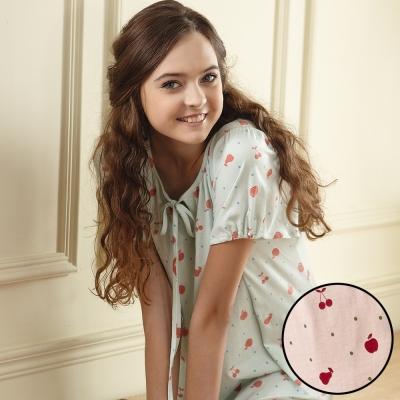 羅絲美睡衣 - 繽紛紅蘋短袖洋裝睡衣 (可愛粉)