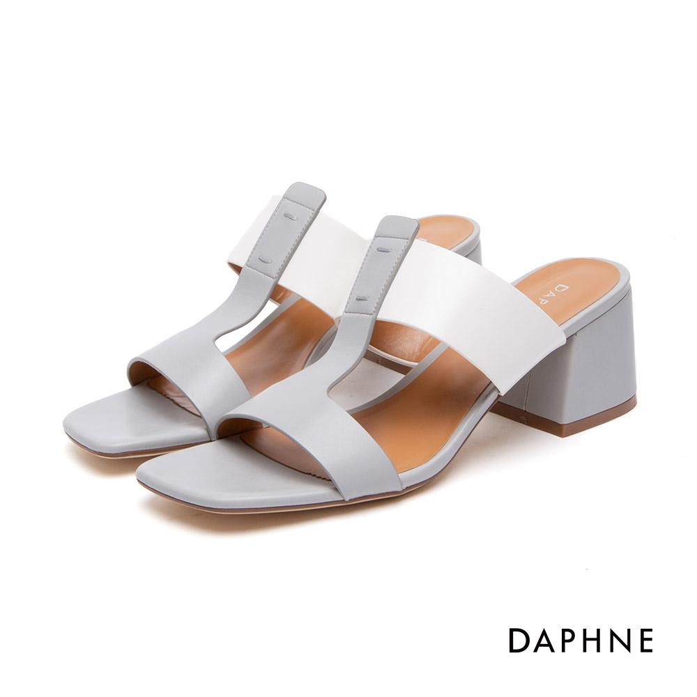 達芙妮DAPHNE 涼鞋-簡約寬帶撞色粗高跟涼鞋-灰