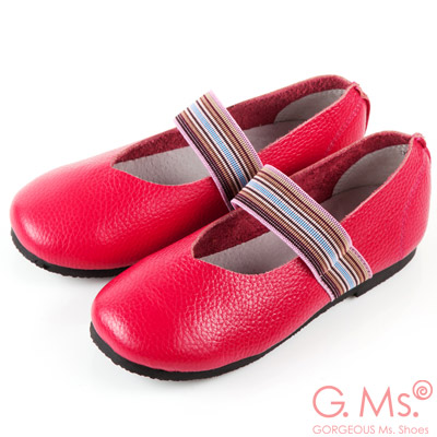 G.Ms. 童鞋-繽紛鬆緊帶圓頭牛皮休閒鞋-桃紅