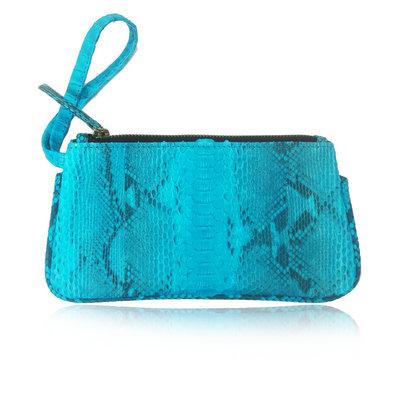ACUBY 限量單品手工蛇皮手拿包/彩漾藍