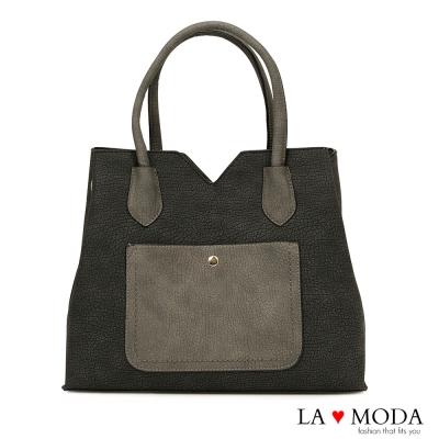 La Moda 出遊超大容量撞色拼接質感荔枝紋托特包(黑灰)