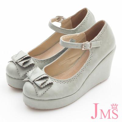 JMS-典雅氣質蝴蝶結楔型娃娃鞋-灰色