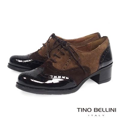 Tino Bellini 西班牙進口異材質3色中跟牛津鞋 _ 咖