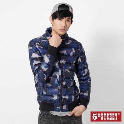 5th STREET 迷彩輕羽絨連帽外套-男-藍色