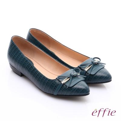 effie 輕透美型 全真皮壓紋金屬飾扣低跟鞋 綠