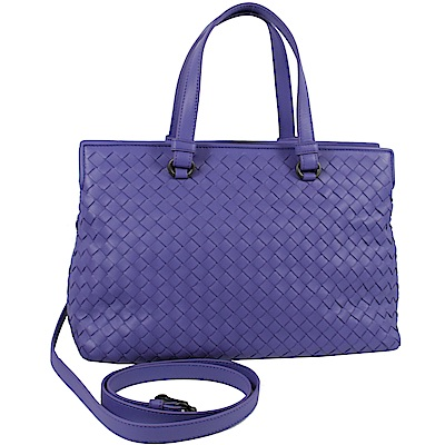 BOTTEGA VENETA編織簡約可斜背兩用雙層手提包(紫)