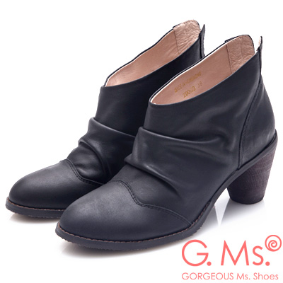 G.Ms. 牛皮韓風抓皺後V口粗跟踝靴-黑色