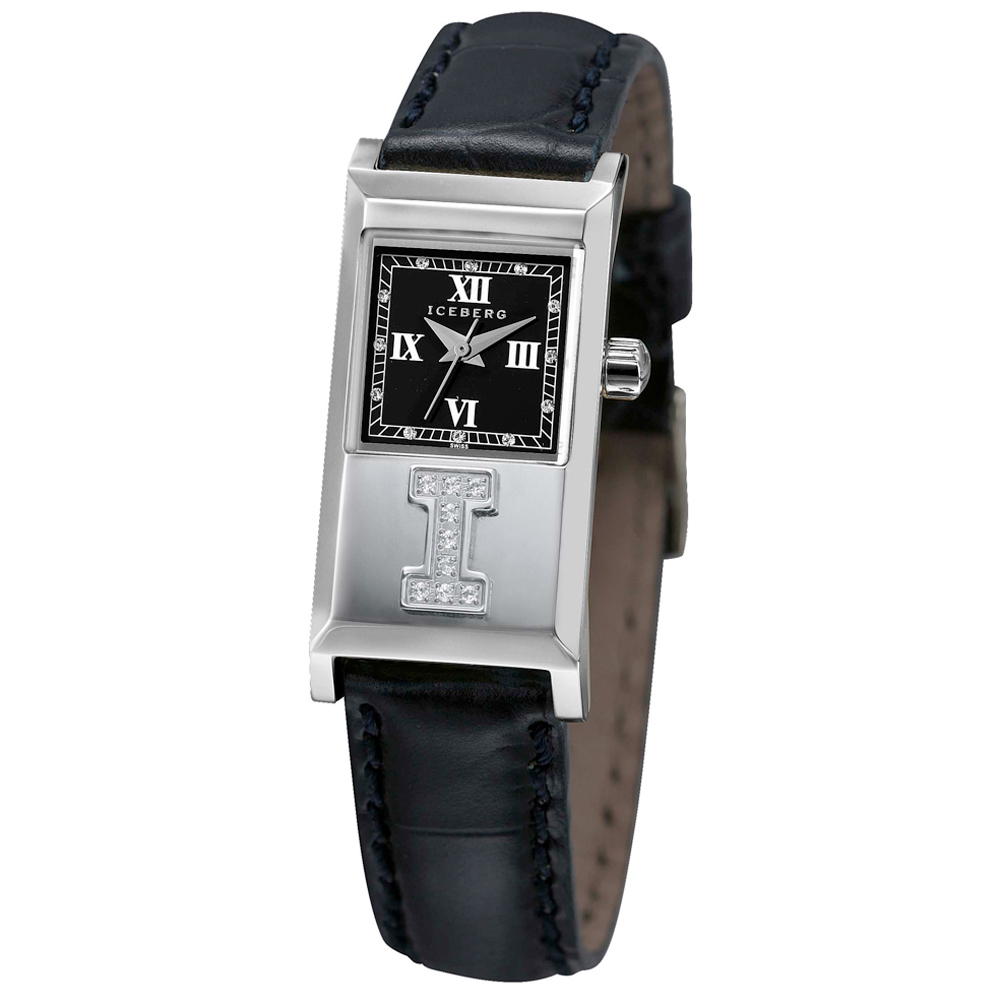ICEBERG 冰山系列LOGO真鑽皮帶腕錶-黑/20x36mm