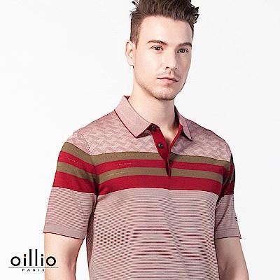 歐洲貴族oillio 短袖線衫 成熟款POLO領 簡單條紋 紅色