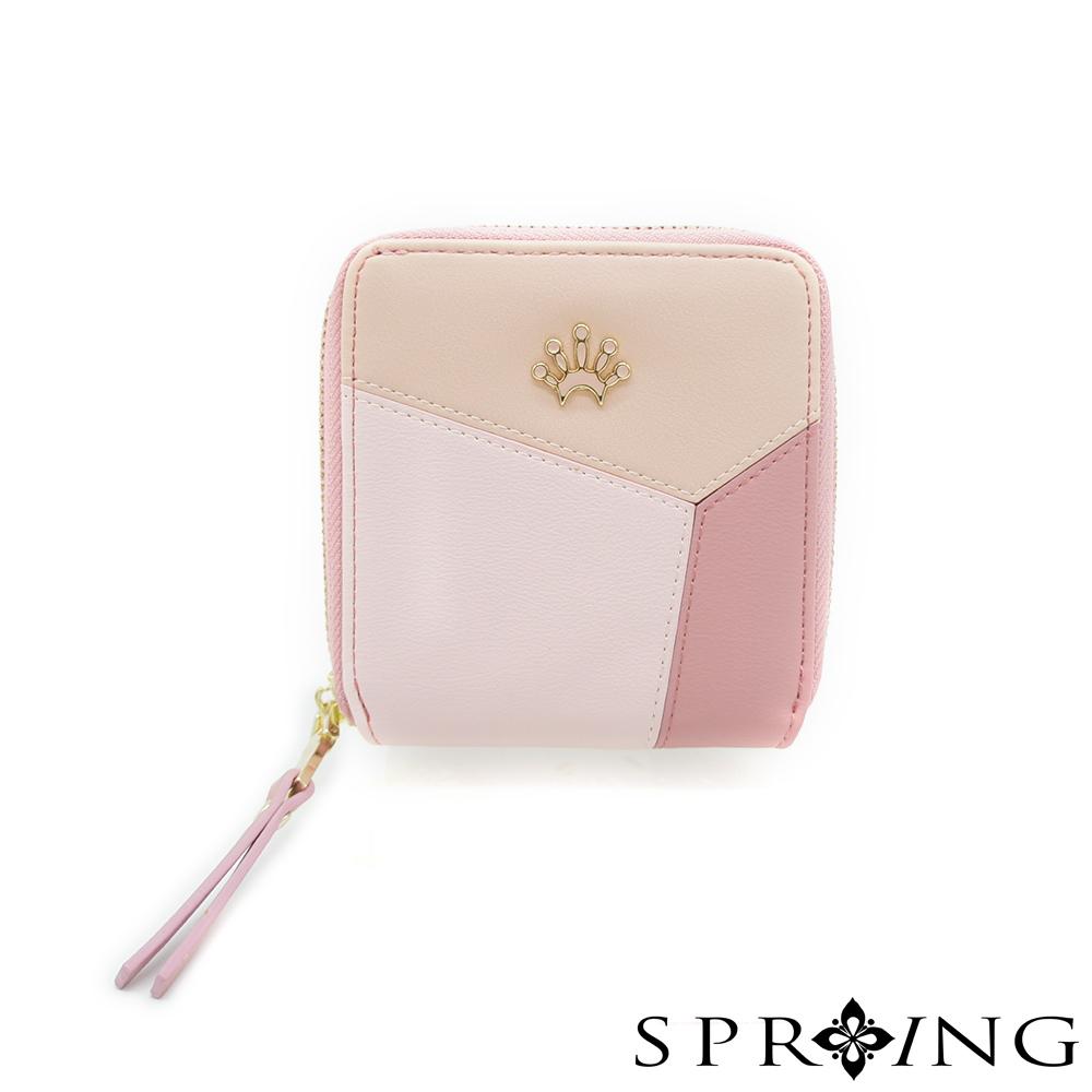 SPRING-真皮雙色幾何短夾-薔薇粉